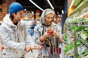 Photo of couple shopping in grocery store